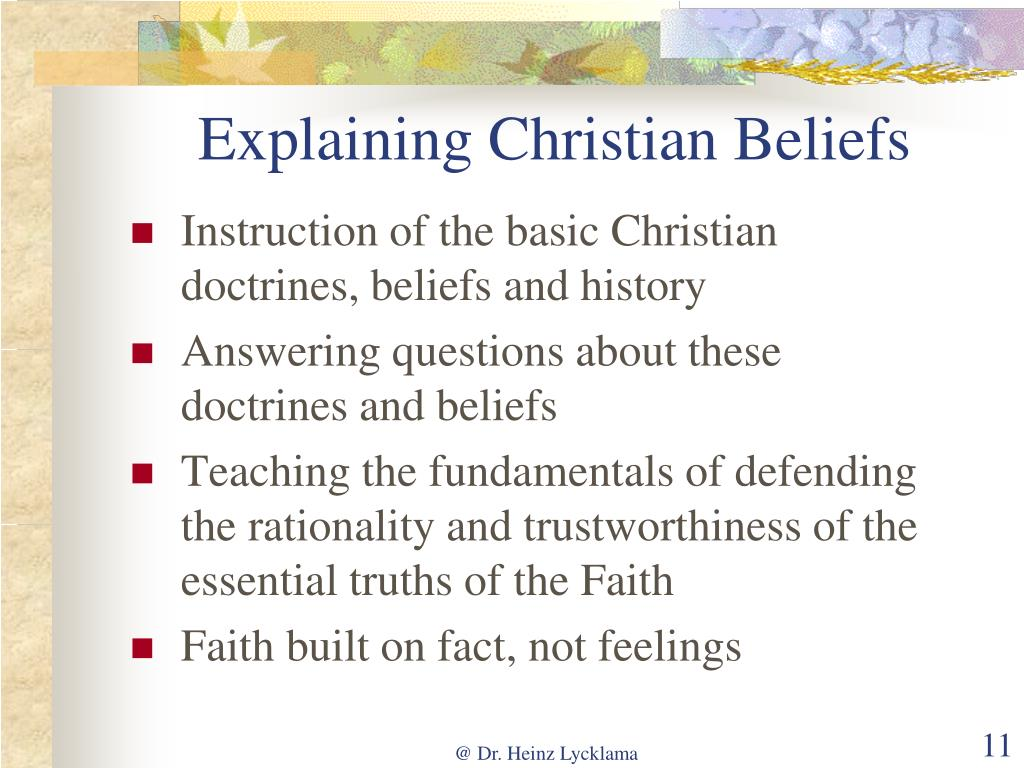 Explaining Christian Beliefs
