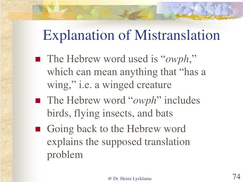 Explanation of Mistranslation