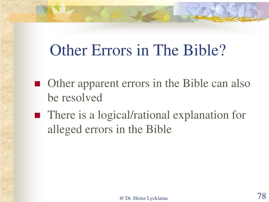 Other Errors in The Bible?