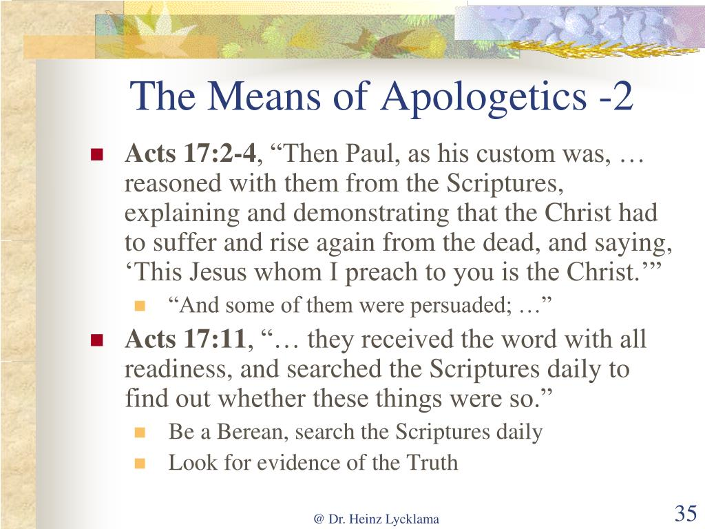The Means of Apologetics -2