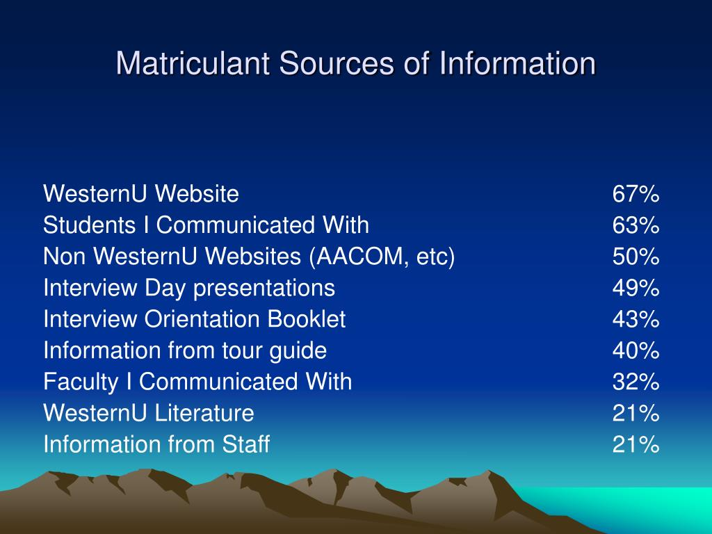 Matriculant Sources of Information