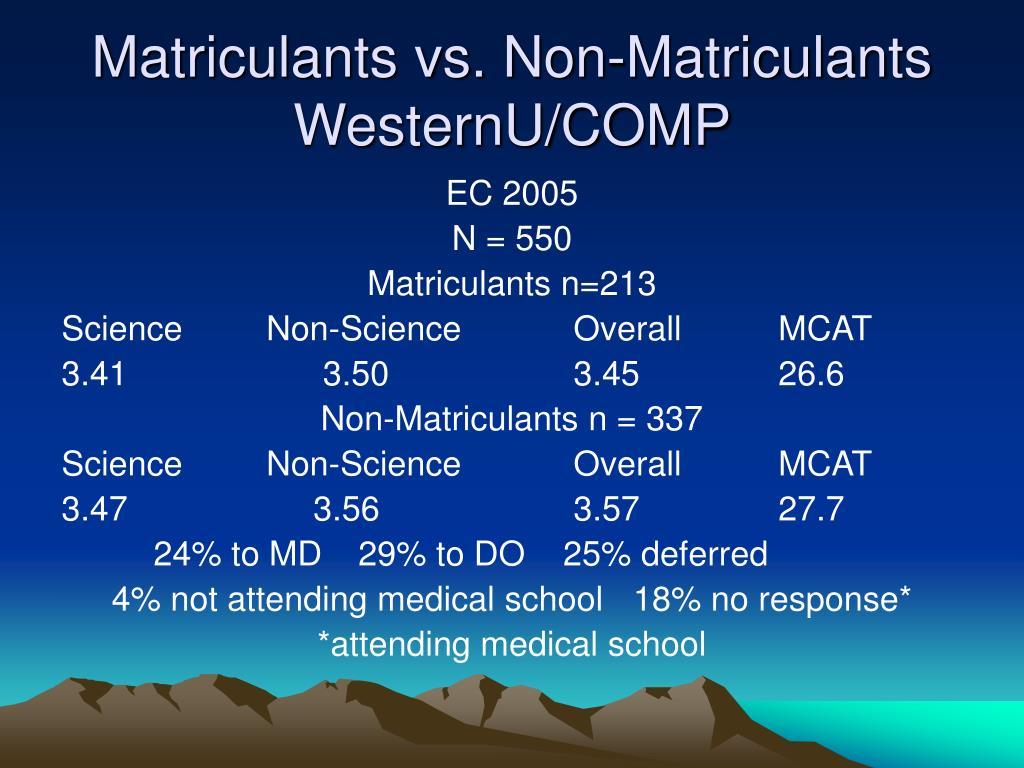 Matriculants vs. Non-Matriculants