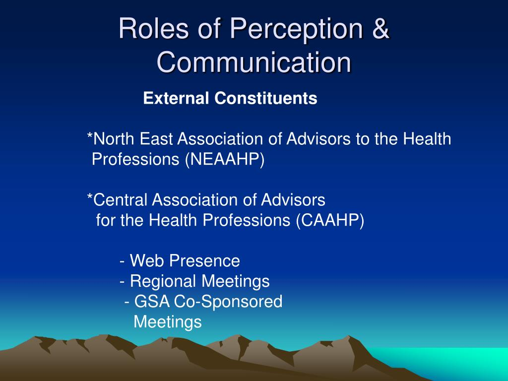 Roles of Perception & Communication