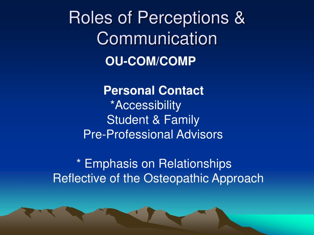 Roles of Perceptions & Communication