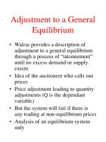 adjustment to a general equilibrium