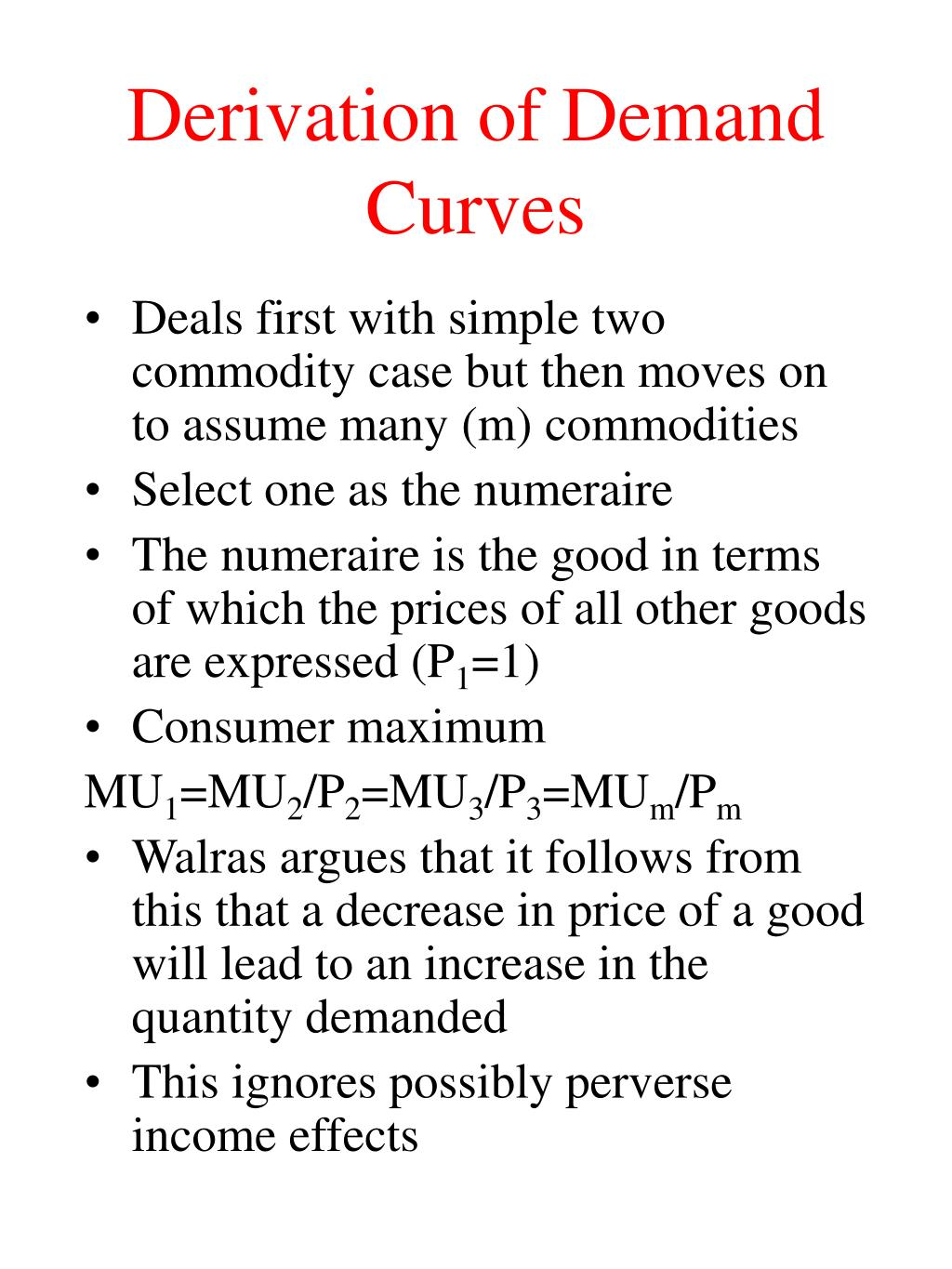 Derivation of Demand Curves
