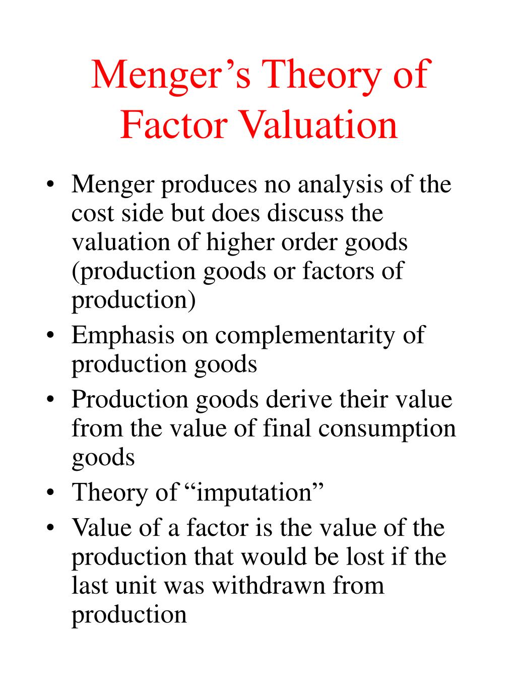 Menger's Theory of Factor Valuation
