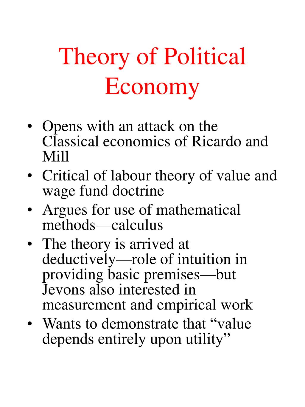 Theory of Political Economy