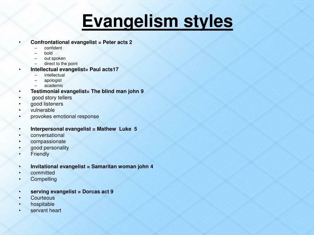 Evangelism styles