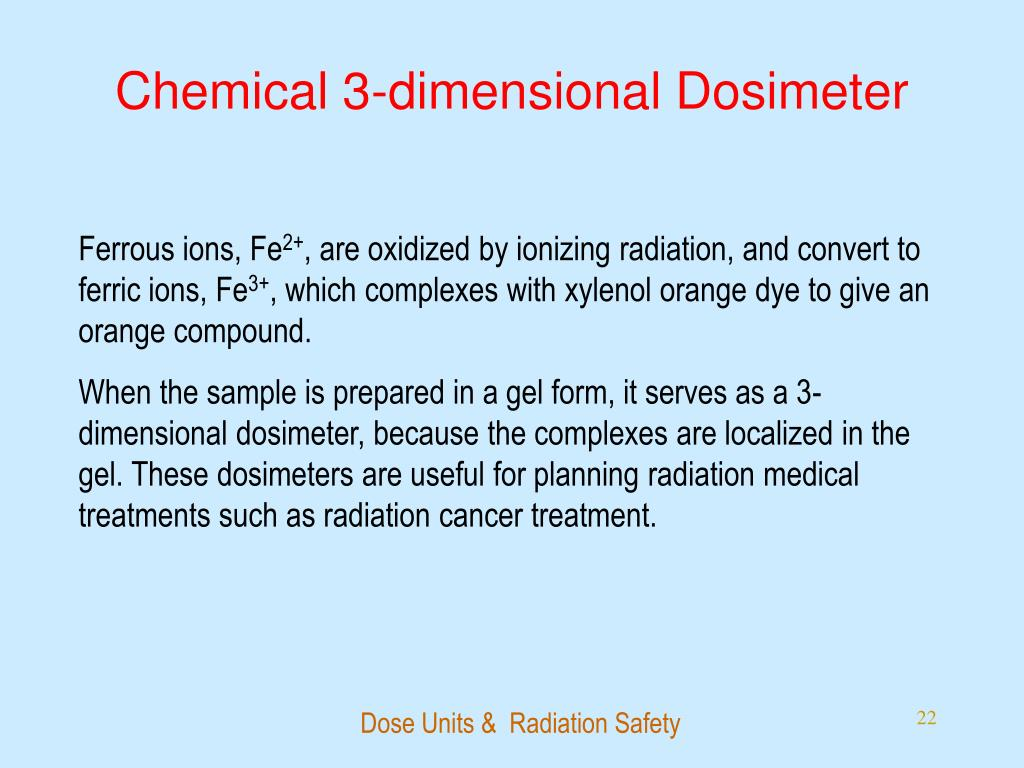 Chemical 3-dimensional Dosimeter
