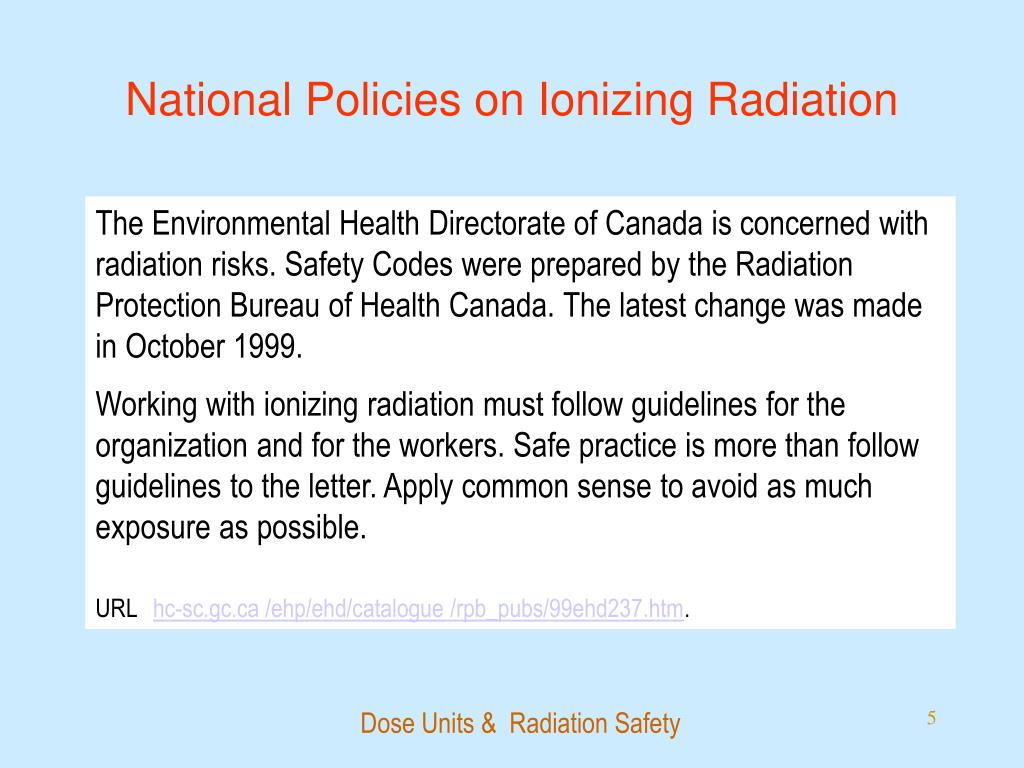 National Policies on Ionizing Radiation