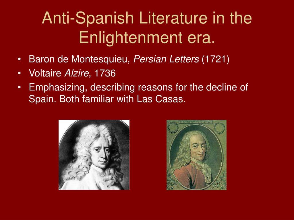 Anti-Spanish Literature in the Enlightenment era.
