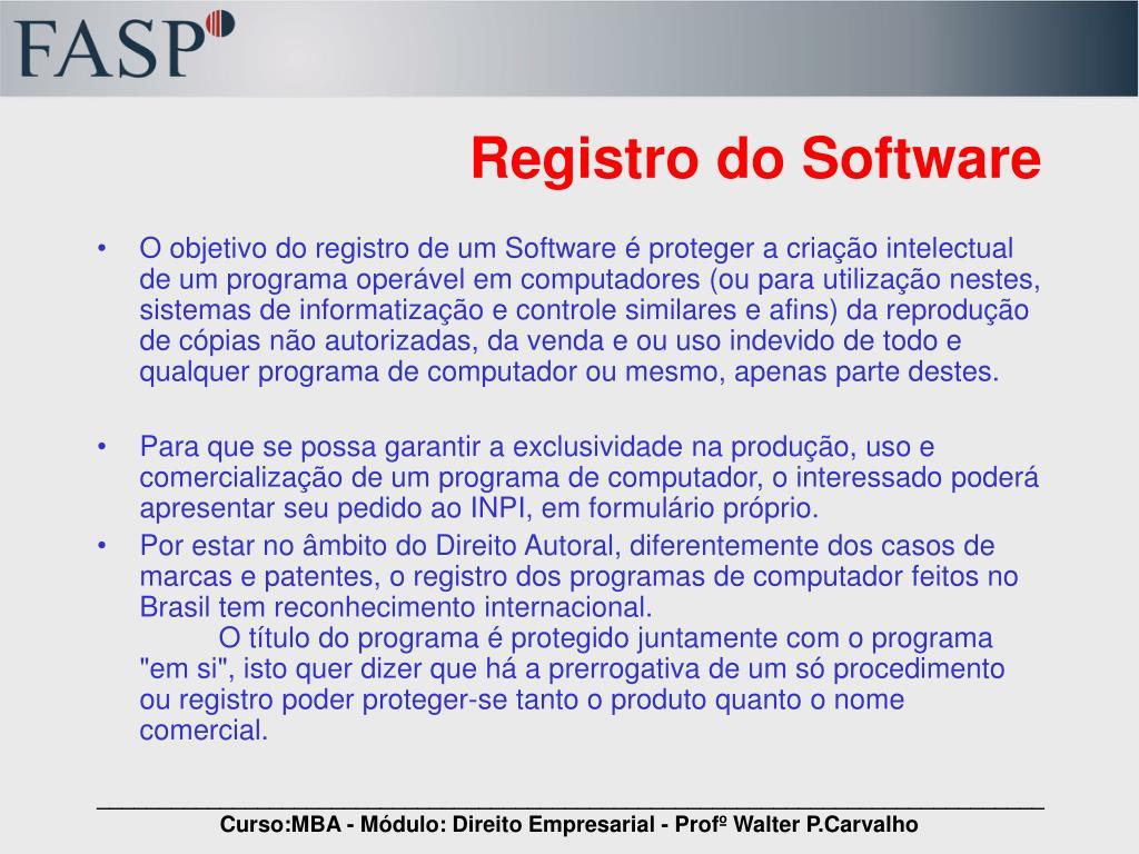Registro do Software