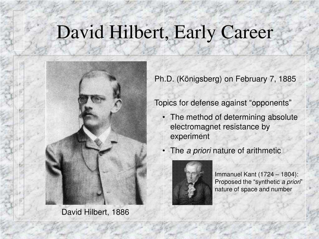 David Hilbert, Early Career