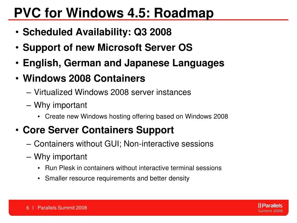 PVC for Windows 4.5: Roadmap