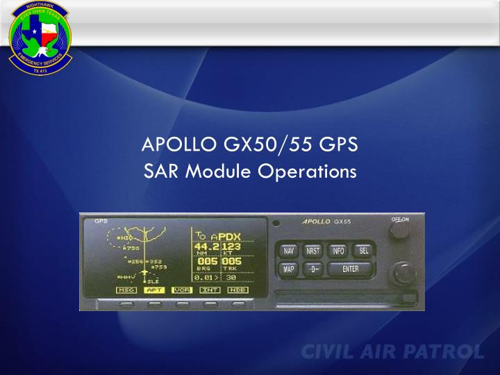 Apollo gx50 55 gps sar module operations