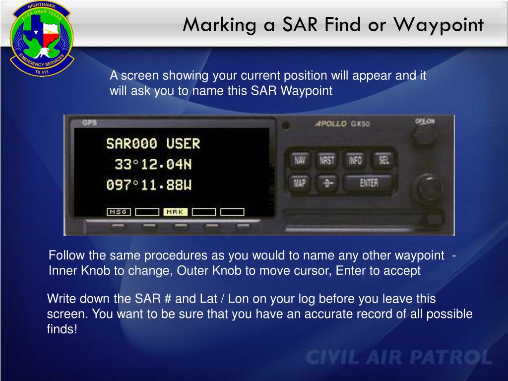 Marking a SAR Find or Waypoint