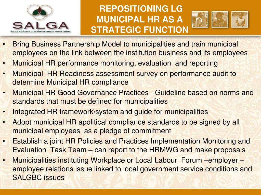 REPOSITIONING LG MUNICIPAL HR AS A STRATEGIC FUNCTION