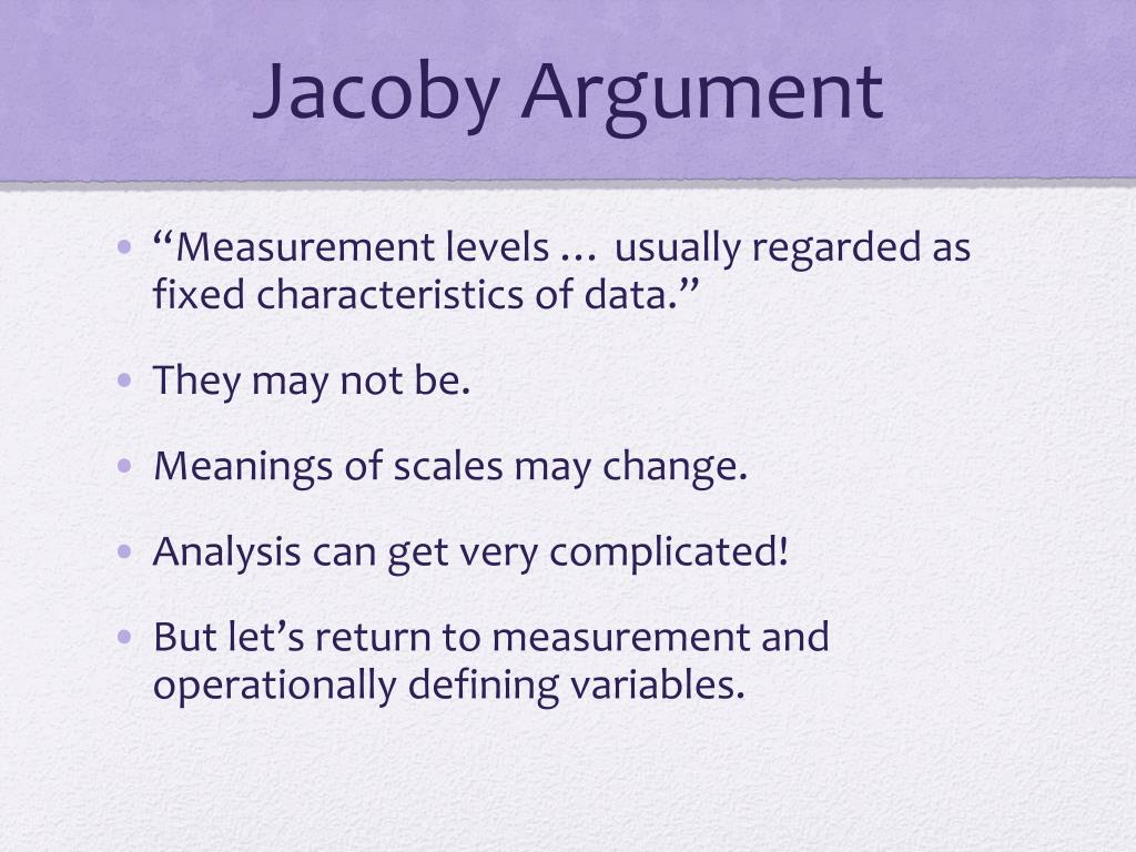 Jacoby Argument