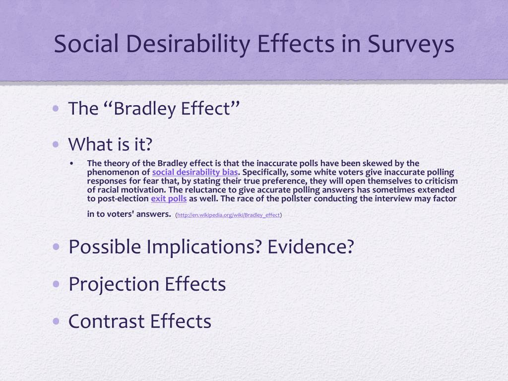 Social Desirability Effects in Surveys