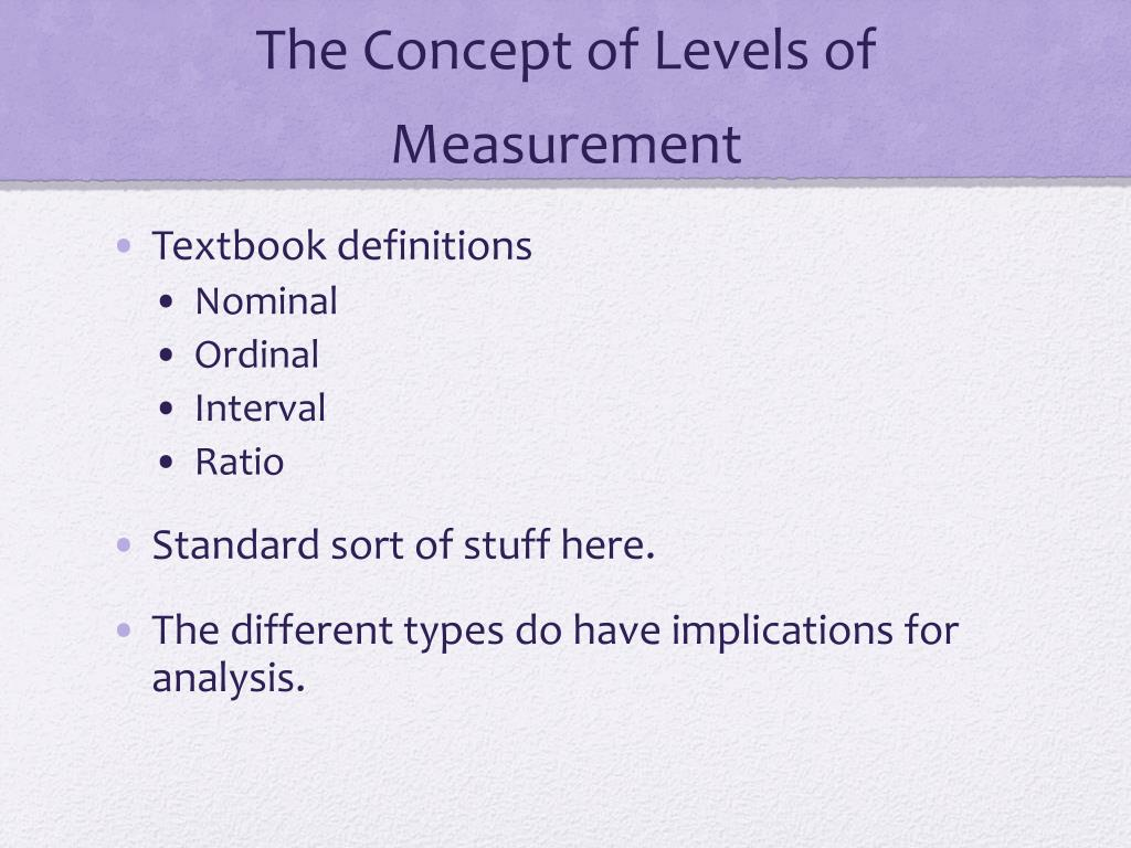 The Concept of Levels of Measurement