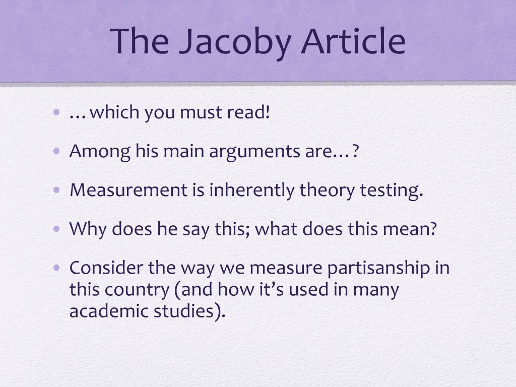 The Jacoby Article