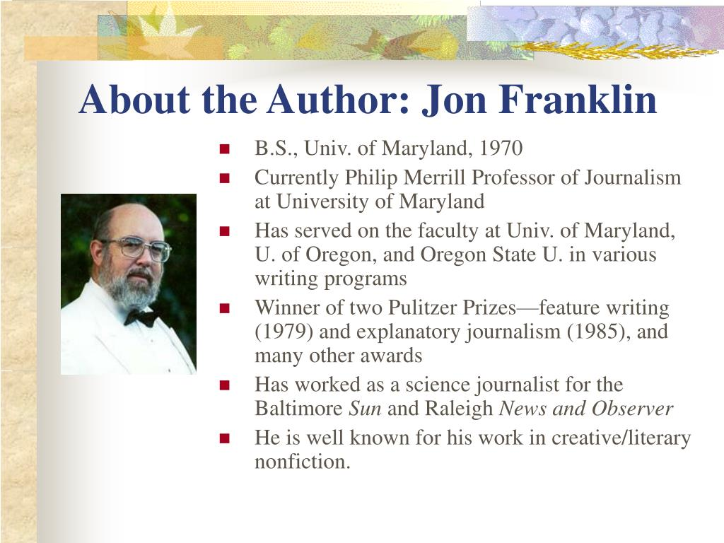 About the Author: Jon Franklin