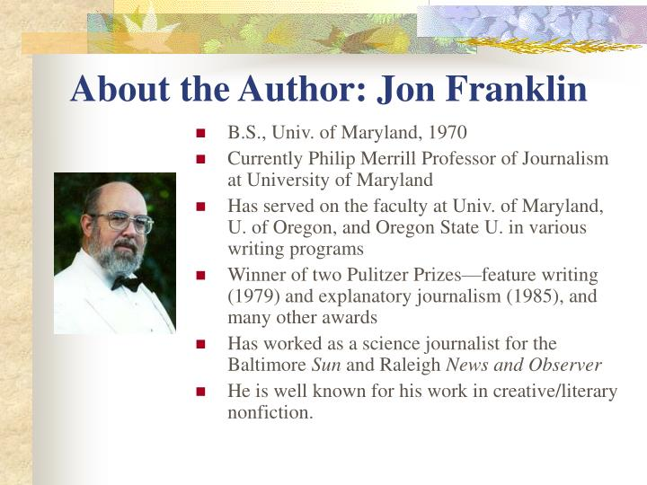 About the author jon franklin