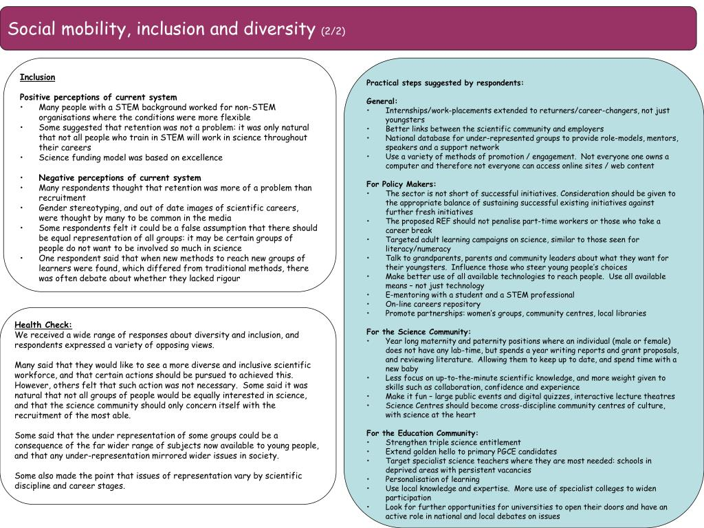 Social mobility, inclusion and diversity