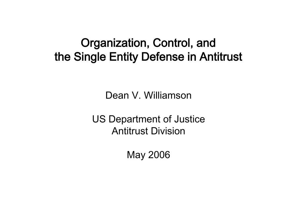 Organization, Control, and