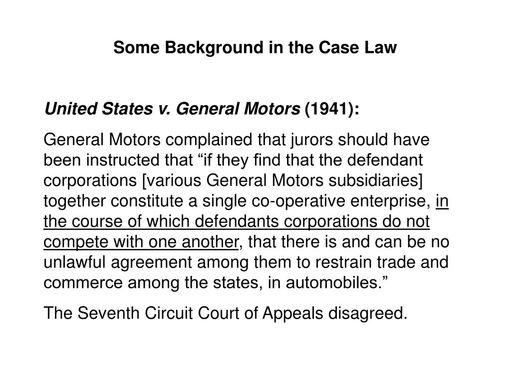 Some Background in the Case Law
