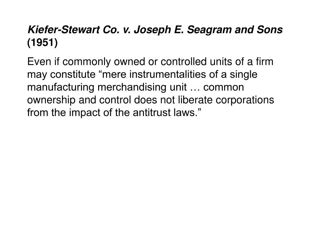 Kiefer-Stewart Co. v. Joseph E. Seagram and Sons