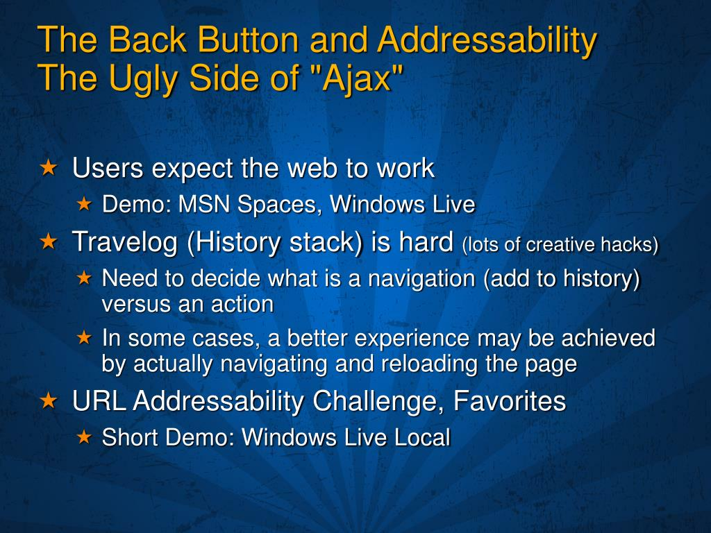The Back Button and Addressability