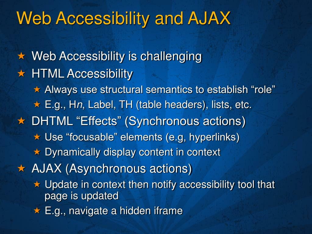 Web Accessibility and AJAX