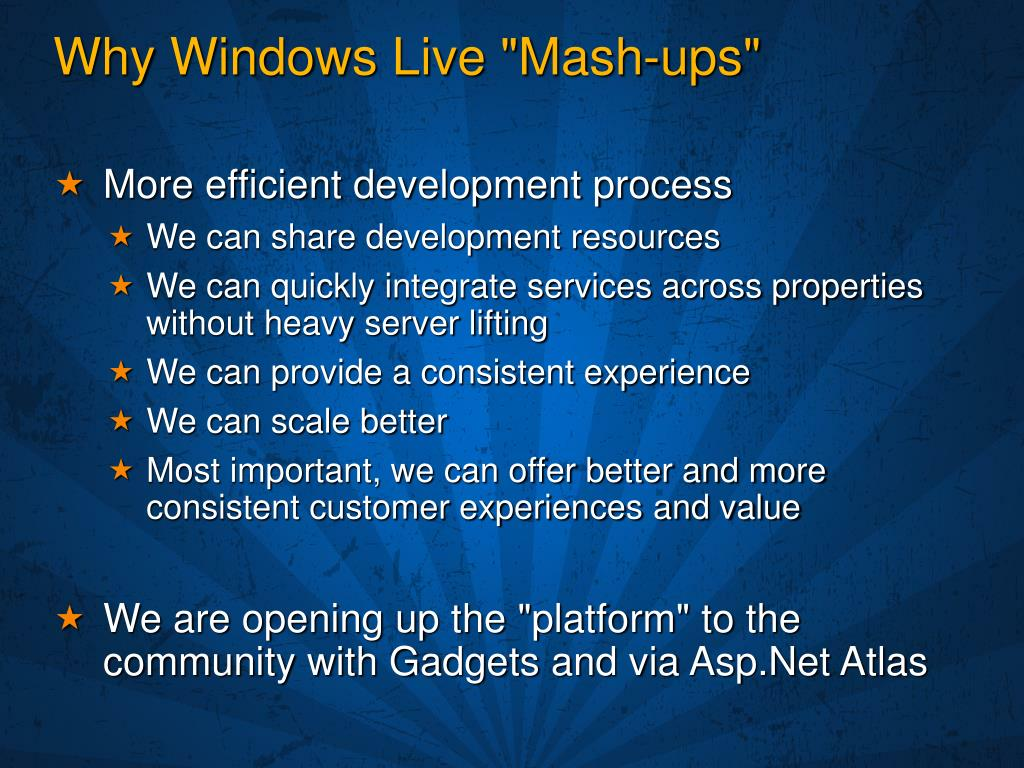 "Why Windows Live ""Mash-ups"""