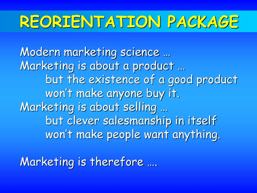 REORIENTATION PACKAGE