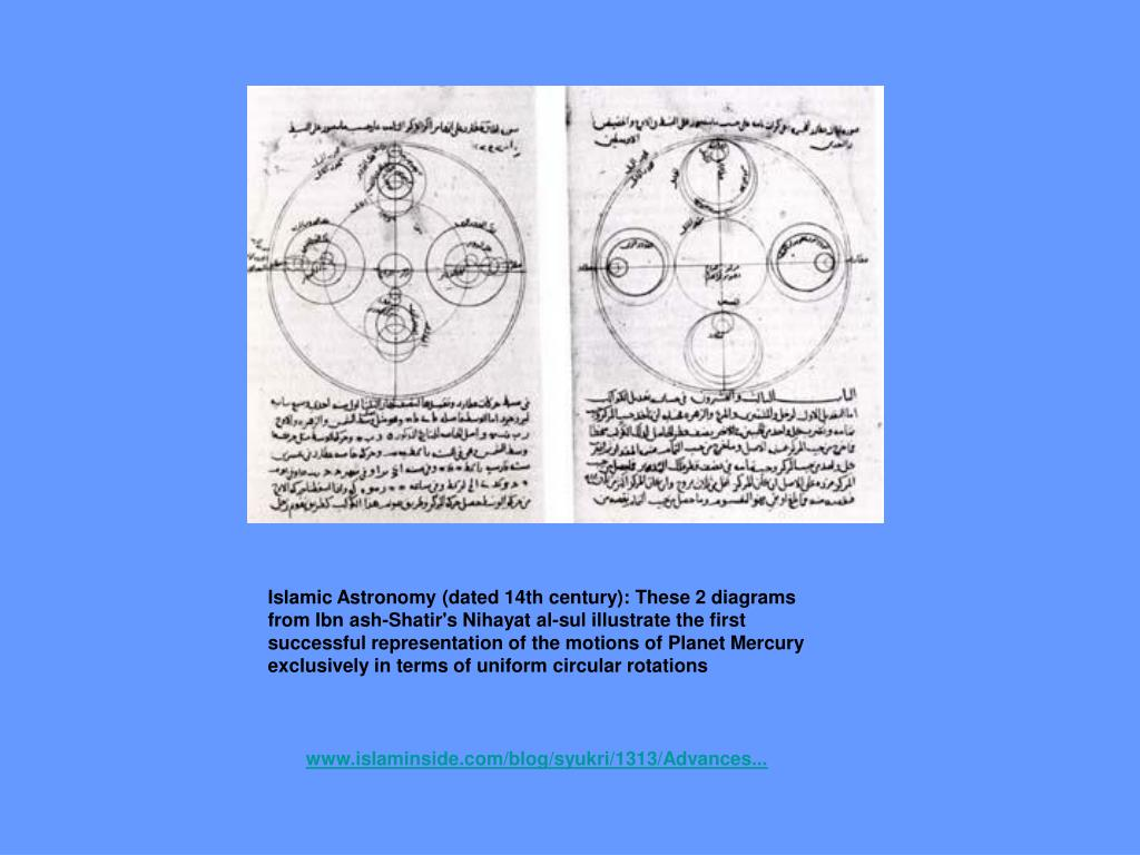 Islamic Astronomy (dated 14th century): These 2 diagrams from Ibn ash-Shatir's Nihayat al-sul illustrate the first successful representation of the motions of Planet Mercury exclusively in terms of uniform circular rotations