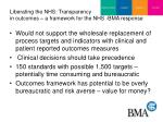 liberating the nhs transparency in outcomes a framework for the nhs bma response
