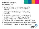 nhs white paper headlines 2
