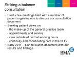 striking a balance consultation