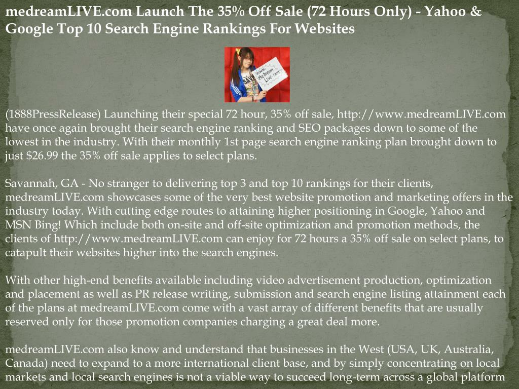 medreamLIVE.com Launch The 35% Off Sale (72 Hours Only) - Yahoo & Google Top 10 Search Engine Rankings For Websites