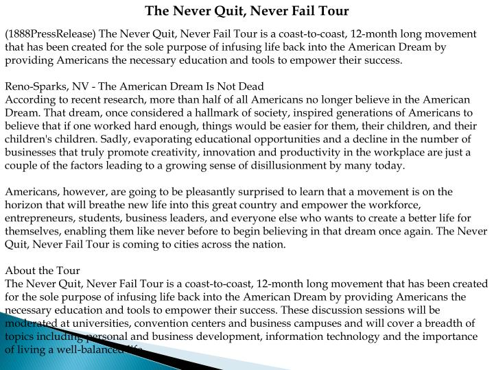 The Never Quit, Never Fail Tour