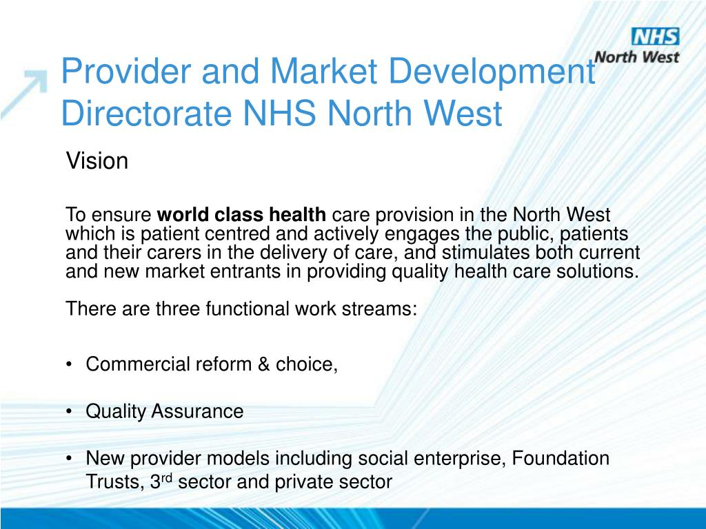 Provider and Market Development Directorate NHS North West