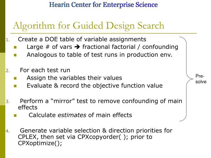 Algorithm for Guided Design Search