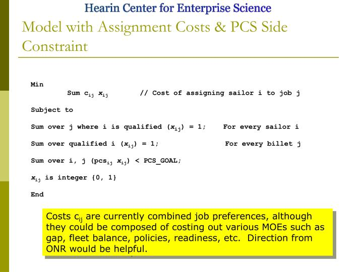 Model with Assignment Costs & PCS Side Constraint