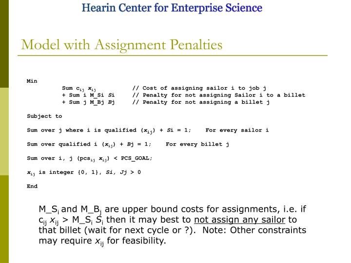 Model with Assignment Penalties