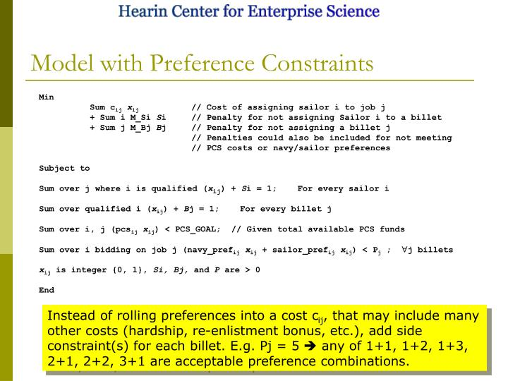 Model with Preference Constraints
