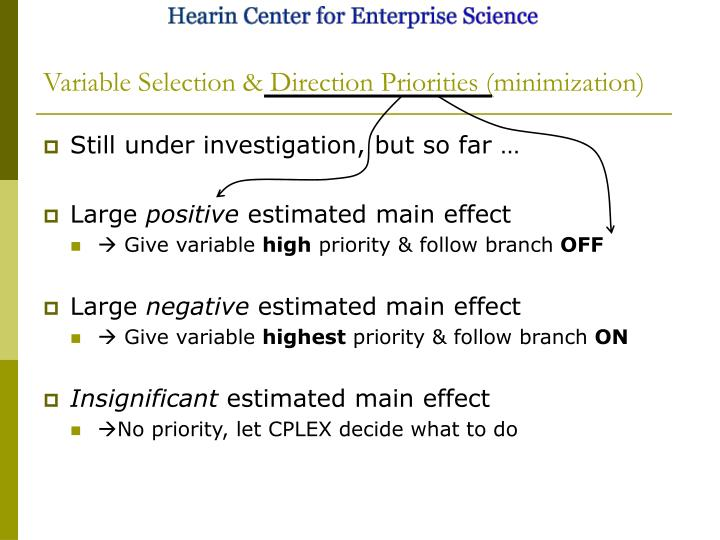 Variable Selection & Direction Priorities (minimization)