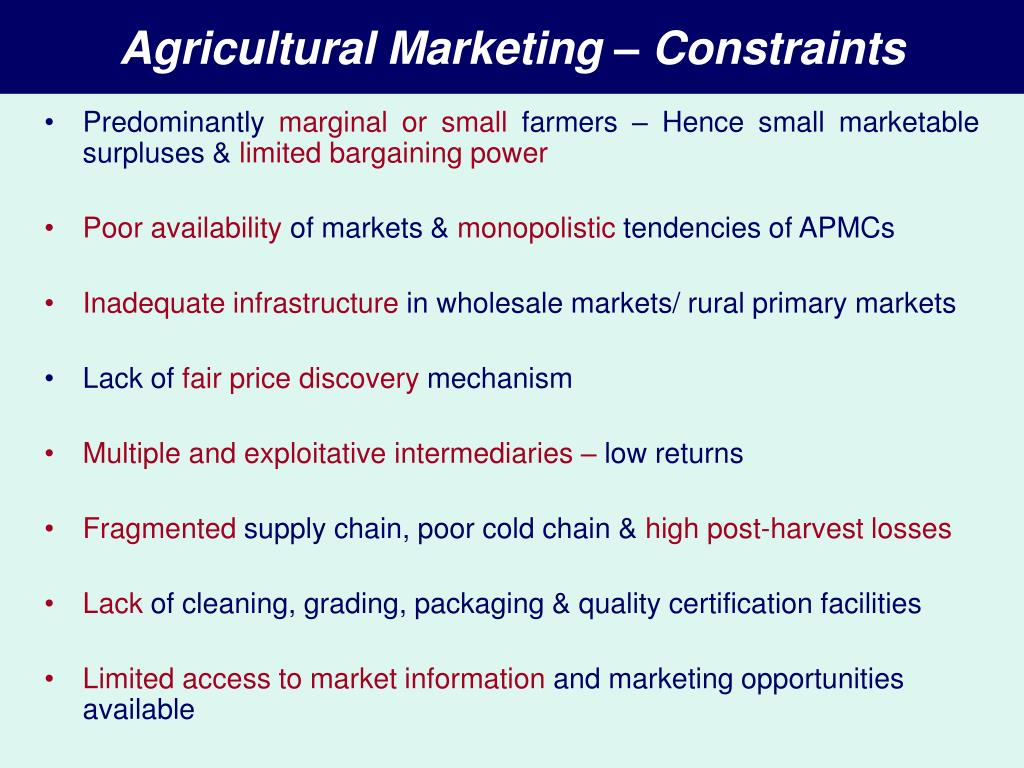 Agricultural Marketing – Constraints