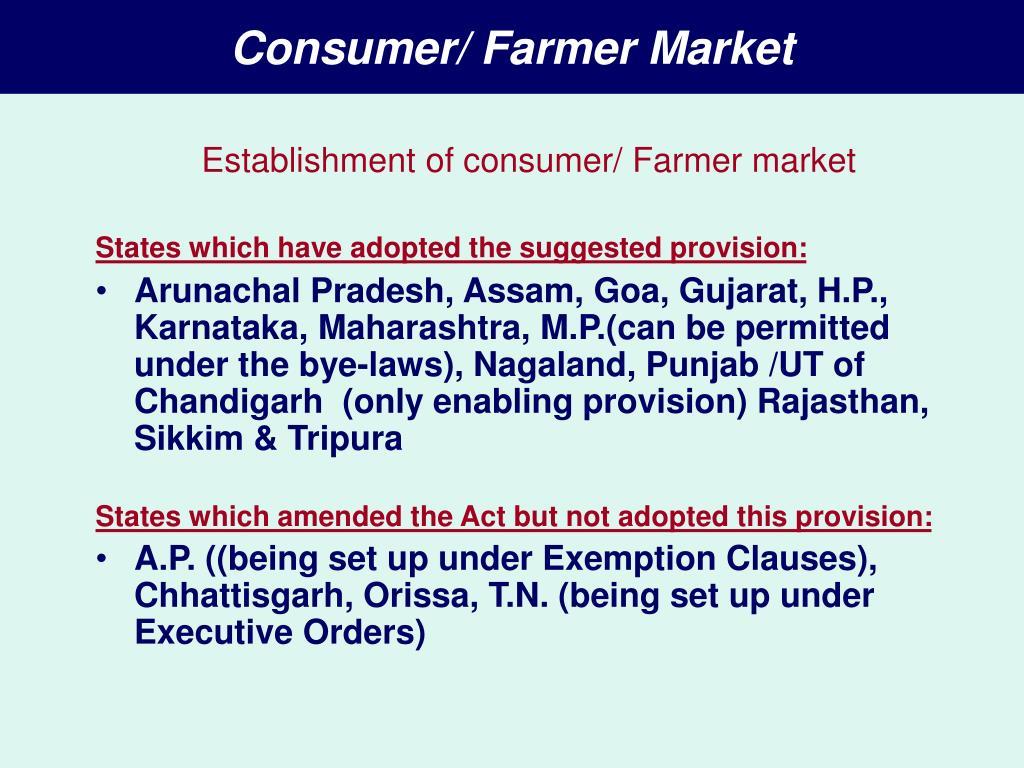 Consumer/ Farmer Market